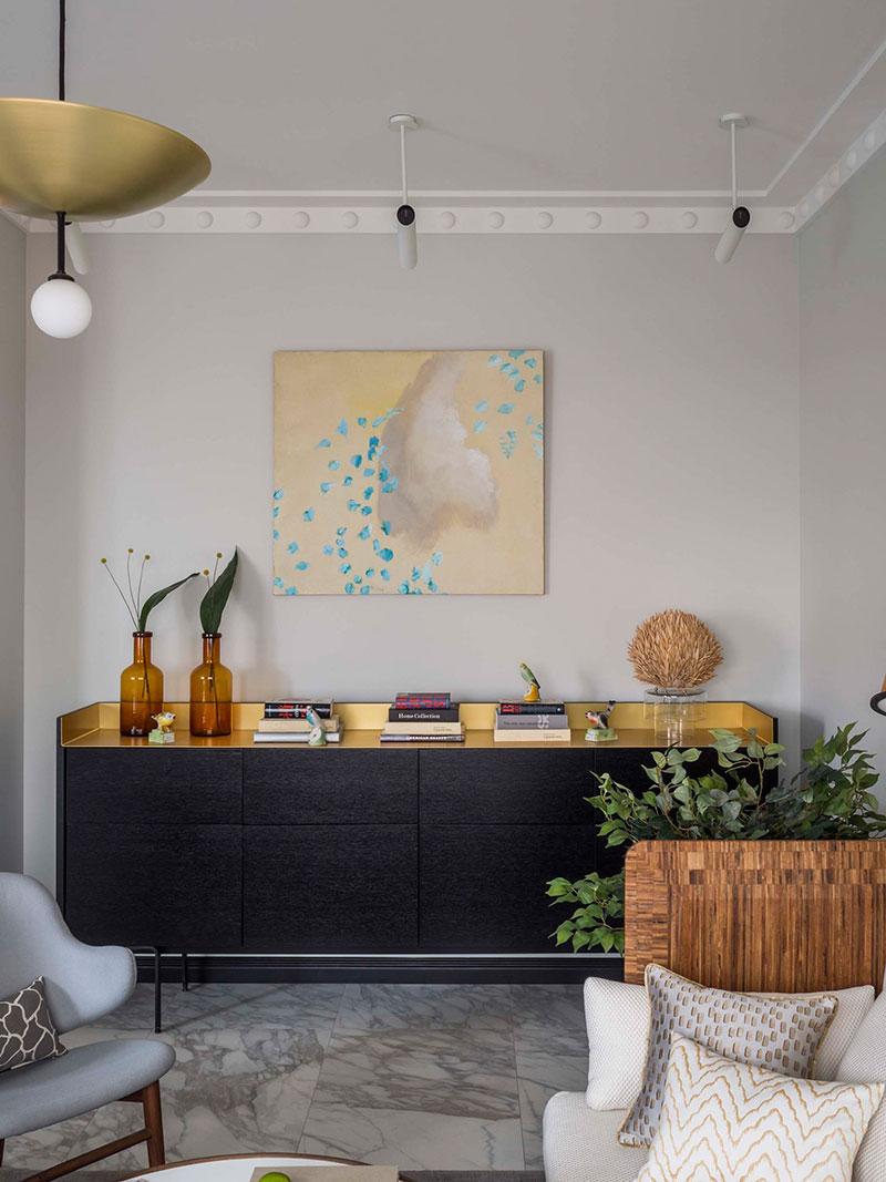 interior in pastel colors in apartment