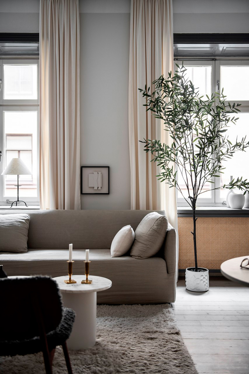 Olive Tree And Warm Natural Shades Pleasant Scandinavian Apartment In Stockholm Photos Ideas Design