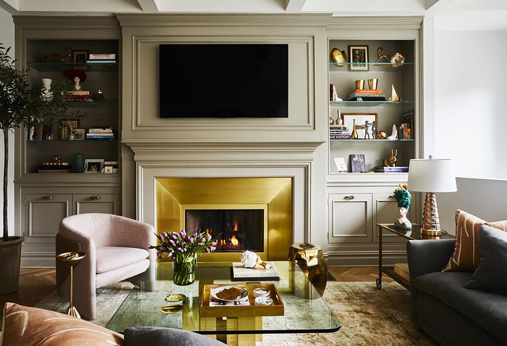 灰色电视墙柜体的客厅