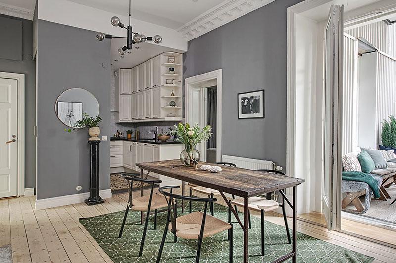 Скандинавская квартира с зелёной гостиной