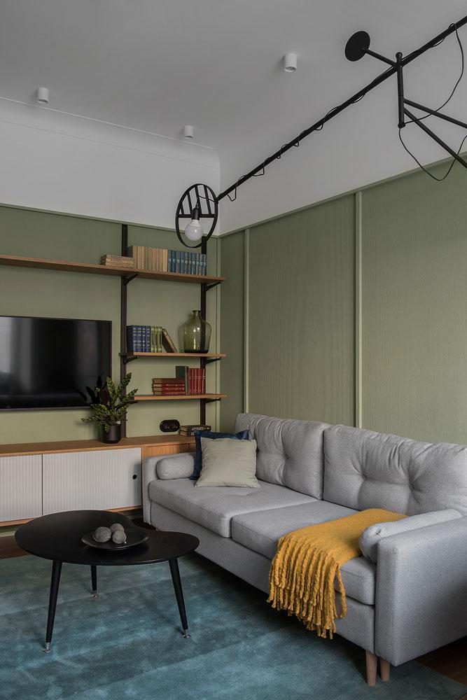 Современный интерьер с ретро настроением в бывшей коммунальной квартире в Москве