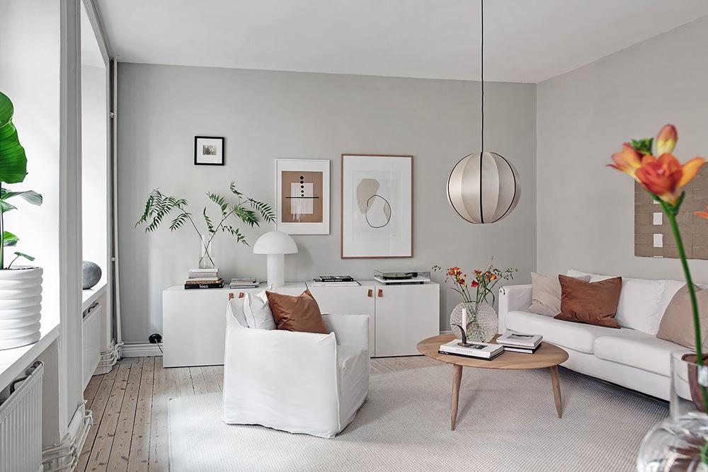 Приятная шведская квартира с теплым декором (56 кв м)