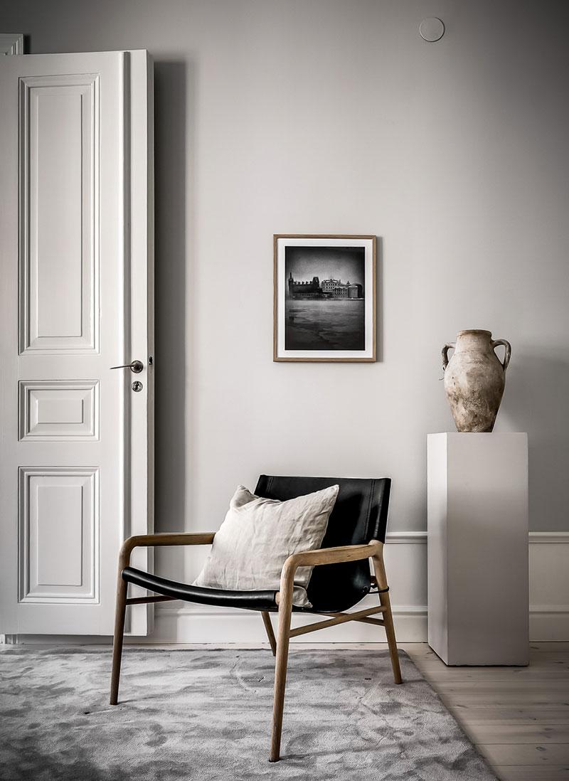 Modern scandinavian design in beige tones in old house
