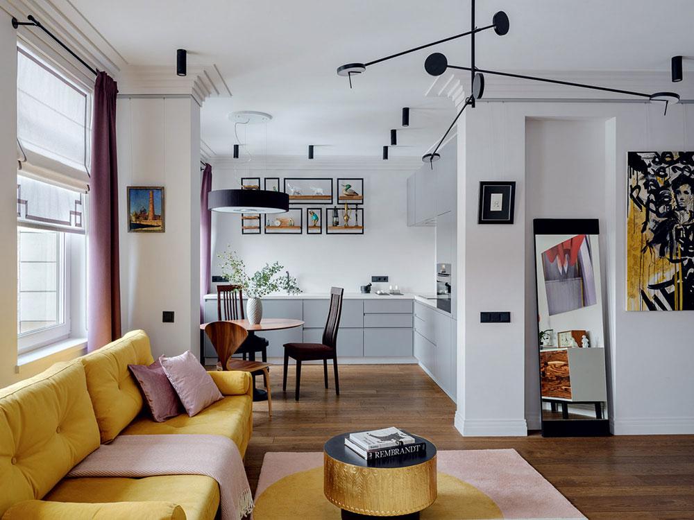 Красочные акценты в интерьере небольшой квартиры в Москве
