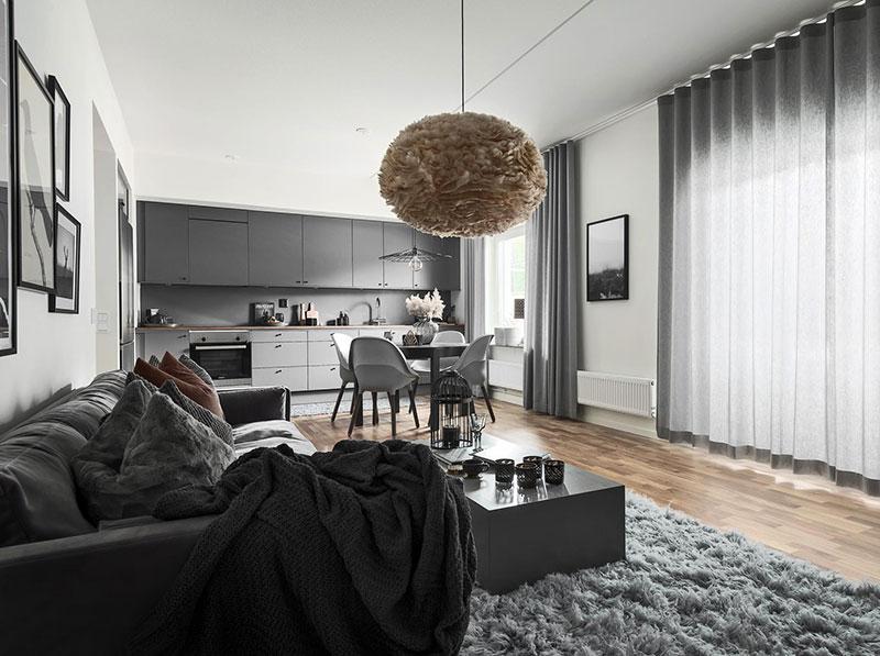 Серо-белый интерьер в Швеции (92 кв. м)