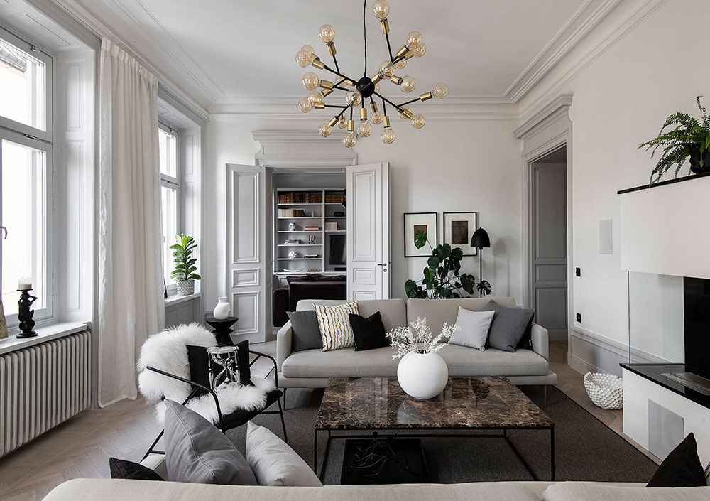 All shades of gray in design of elegant apartment in ...