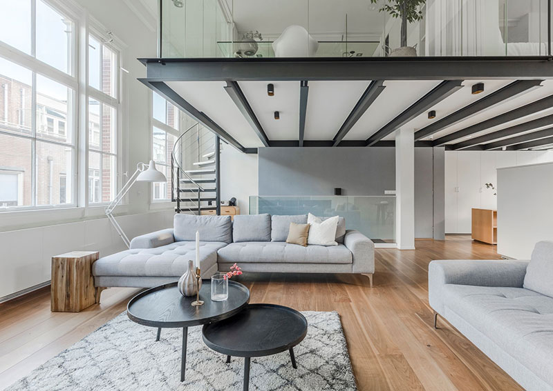 Minimalist Loft With Mezzanine And Attic In Amsterdam Photos Ideas Design