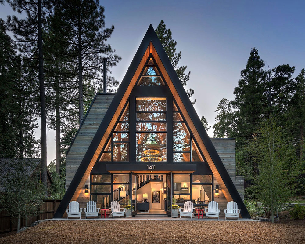 Cozy Modern A Frame House In The Woods Photos Ideas Design