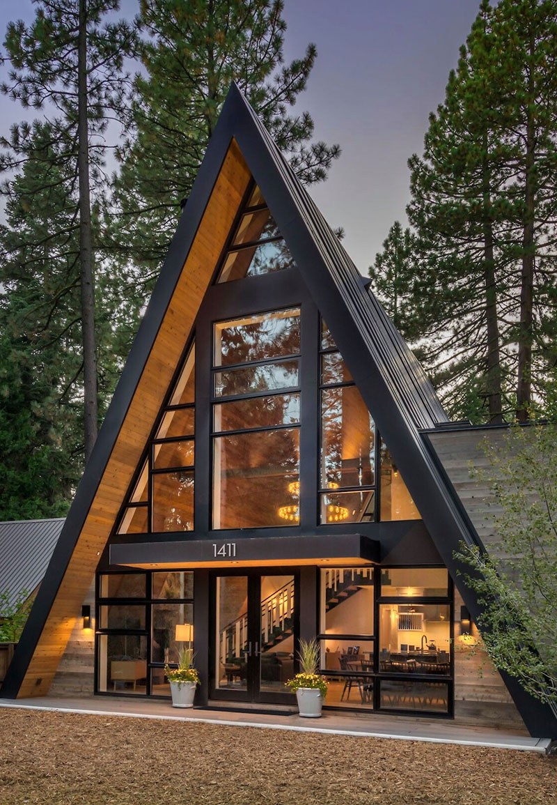 Cozy modern a-frame house in the woods 〛 Photos Ideas Design