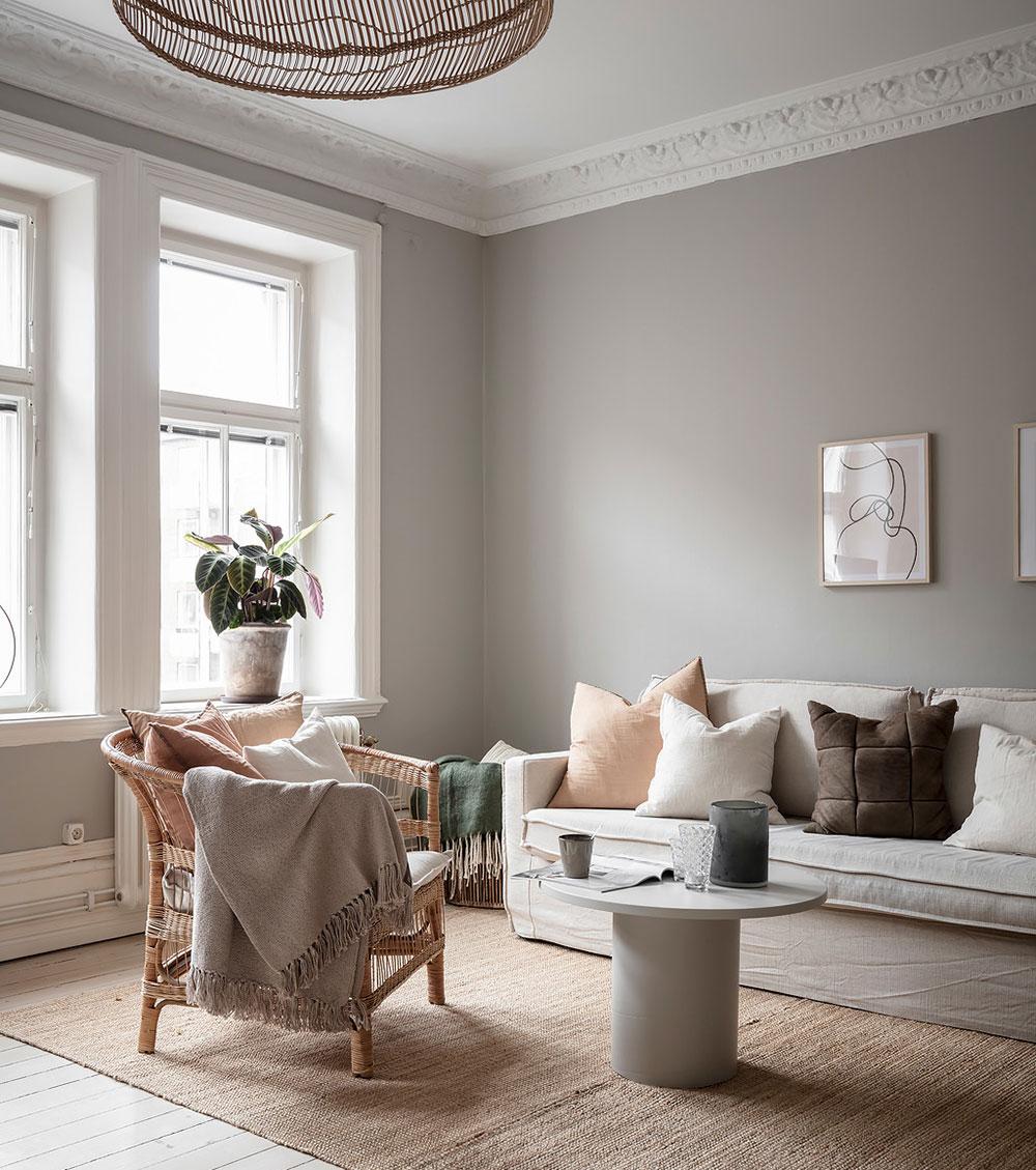Cozy Beige Walk Through Kitchen And Tiny Bedroom Apartment In Gothenburg 57 Sqm Photos Ideas Design