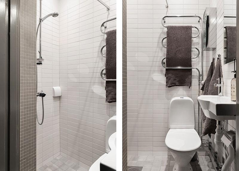 Спальня в нише и тёмные тона: чудеса дизайна небольшой квартиры в Швеции (36 кв. м)