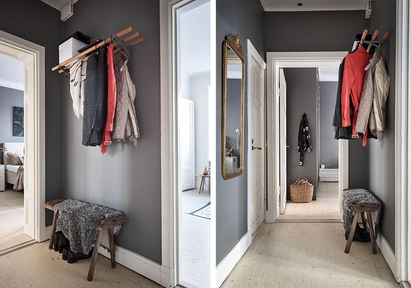 Шведская квартира с тёплыми акцентами и обилием предметов (57 кв. м)