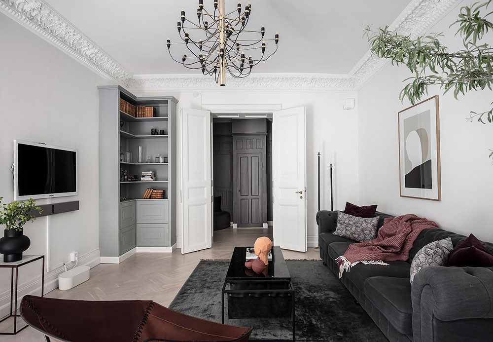 Красивая чёрно-белая квартира в Гётеборге