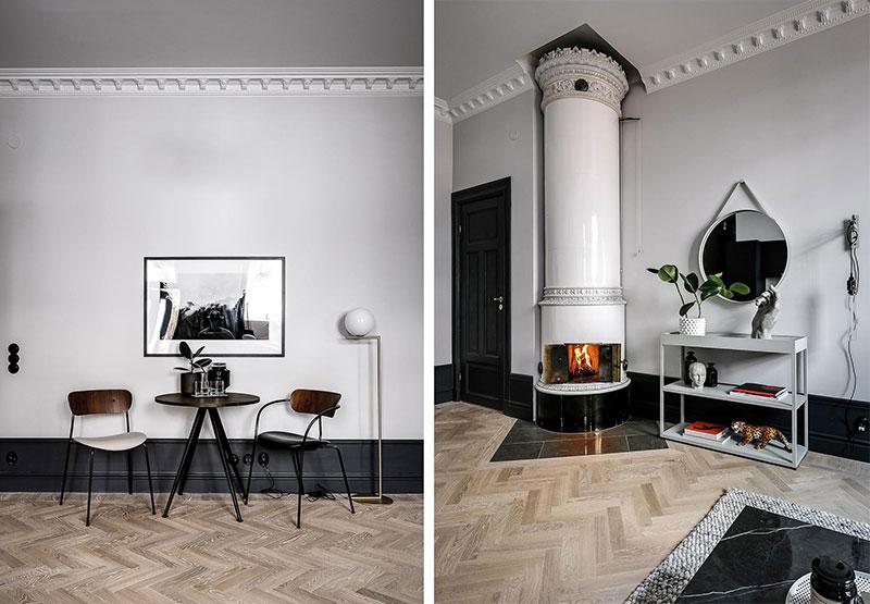 Стильная чёрно-белая квартира на первом этаже в Стокгольме (49 кв. м)