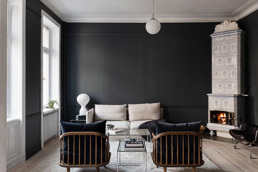 Великолепный тёмный интерьер в Стокгольме (84 кв. м)