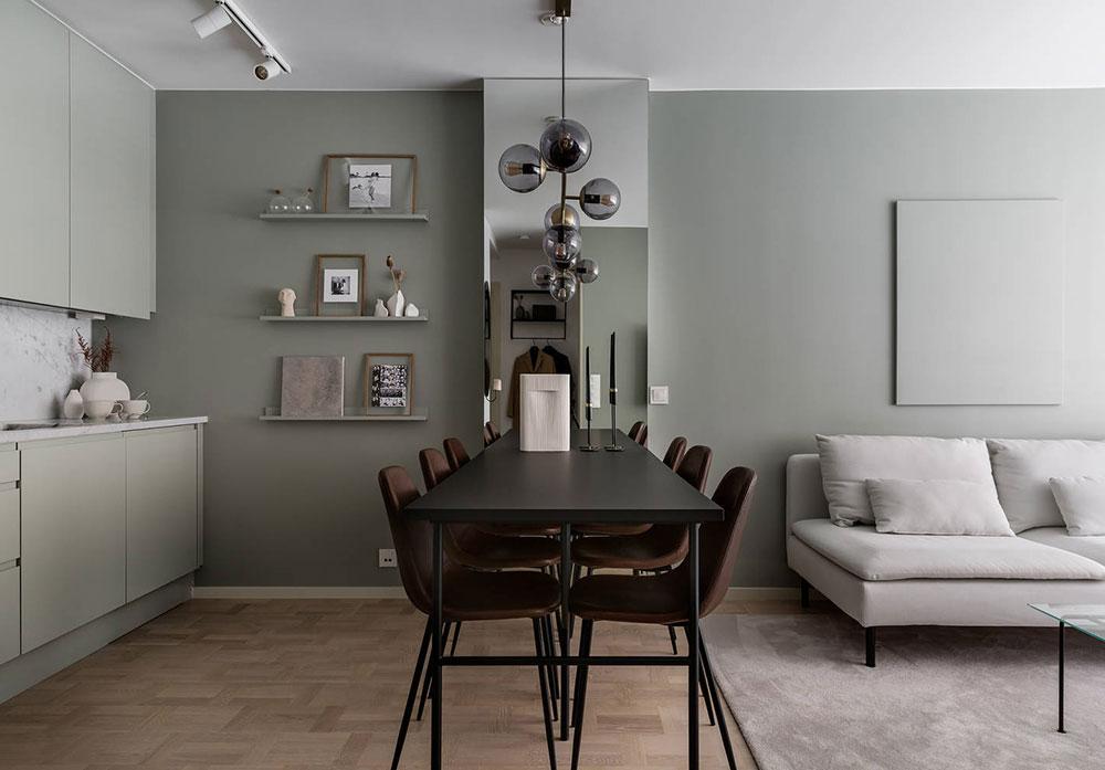 Элегантный скандинавский дизайн в прохладных тонах для небольшой квартиры (43 кв. м)