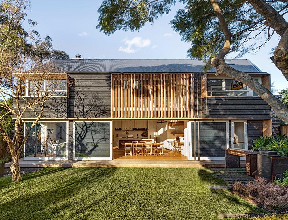 Современный деревянный дом с японским садом в Сиднее
