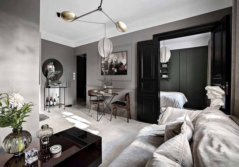 Small one-bedroom apartment in stylish gray and beige ...