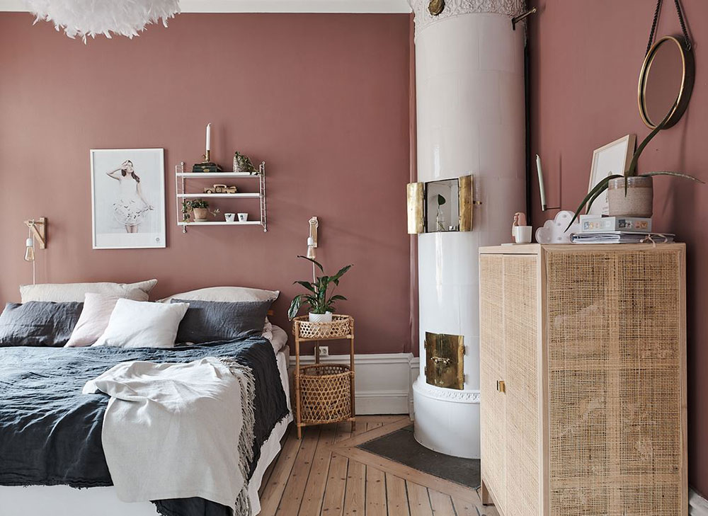 Wonderful Swedish Apartment With Blue Kitchen And Terracotta Bedroom 58 Sqm Photos Ideas Design