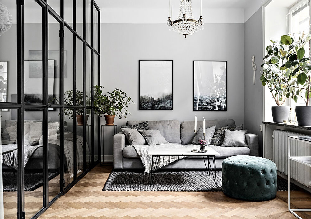 Beautiful Gray Apartment With Small Bedroom Behind Glass Wall 40 Sqm Photos Ideas Design
