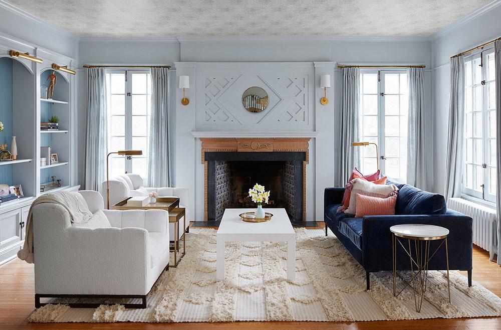 Три гостиных с разным настроением в интерьере дома в США