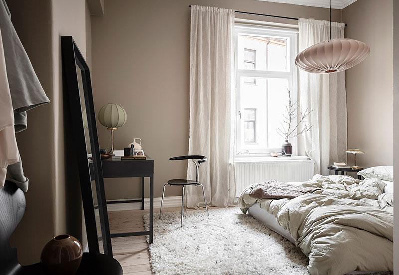 Прекрасный зелёный в интерьере уютной двухкомнатной квартиры в Швеции (60 кв. м)