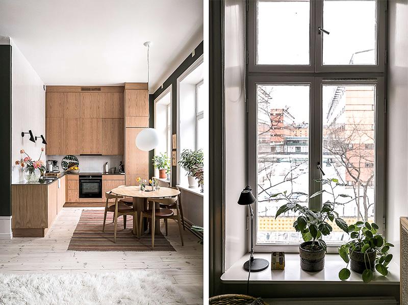 Небольшая квартира с высокими потолками и зелёными стенами (43 кв. м)
