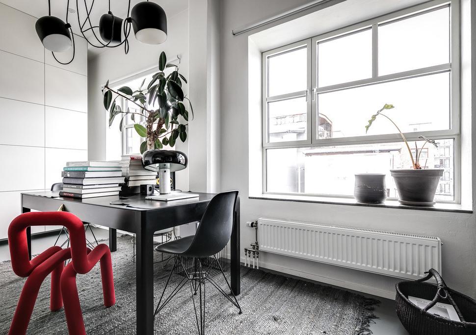 Стильный мужской интерьер с индустриальный характером в Стокгольме (86 кв. м)