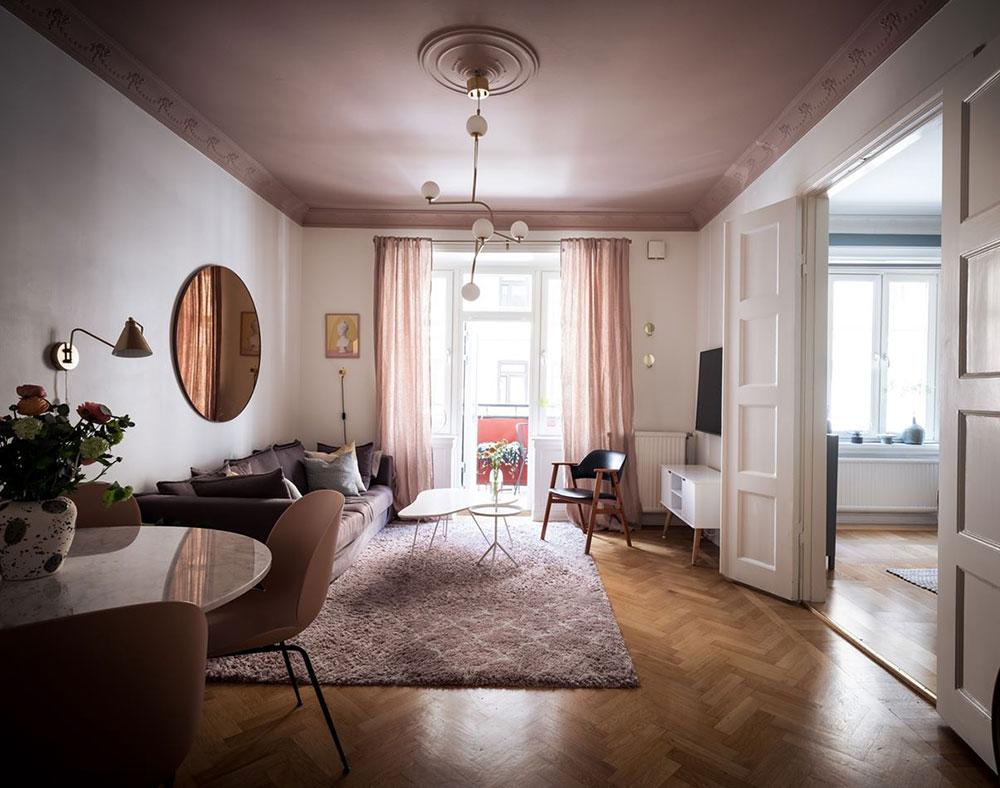 Скандинавский интерьер с розовым потолком (83 кв. м)