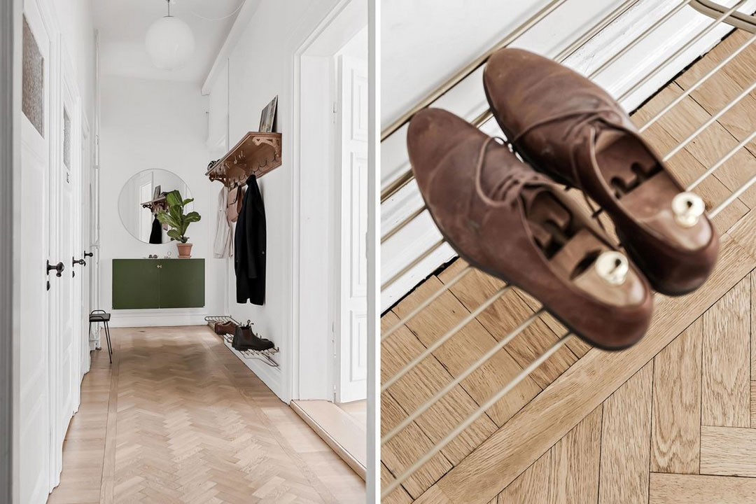 Просторная и светлая квартира с красивой лепниной и современной мебелью в Швеции