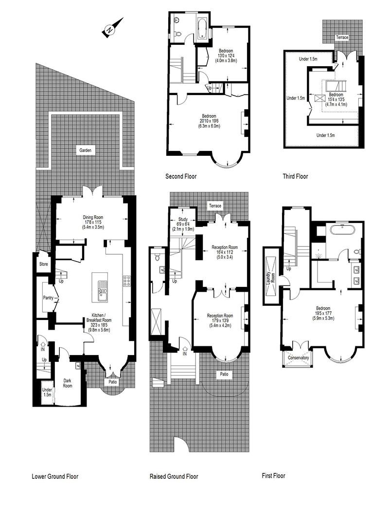 Лондонский дом с частным садом и верандой на крыше