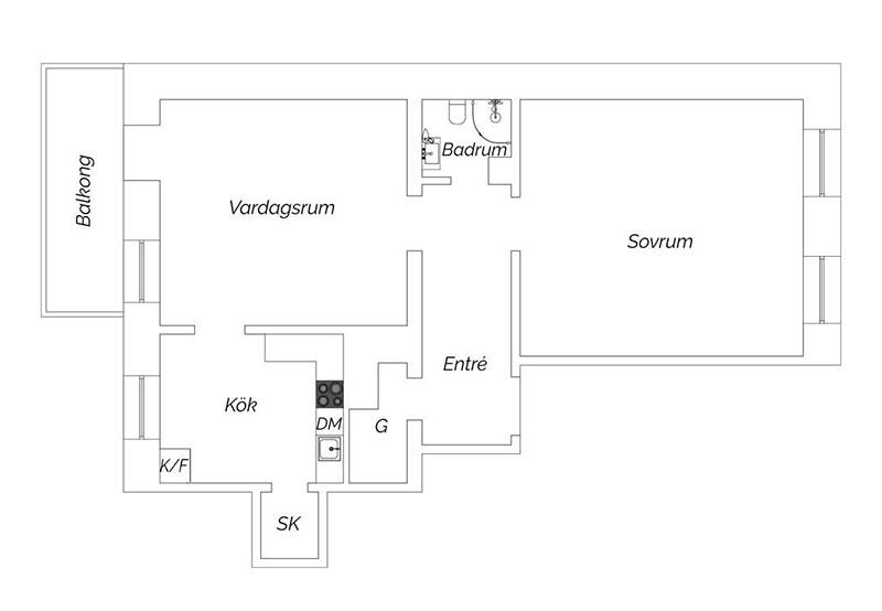 Высокие потолки и цветовые контрасты в интерьер шведской квартиры в старом доме (67 кв. м)