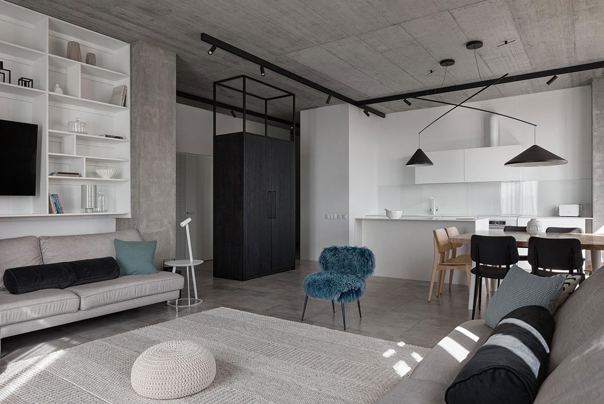 Бетон и черно-белый декор: минималистичная квартира для семьи в Кривом Роге