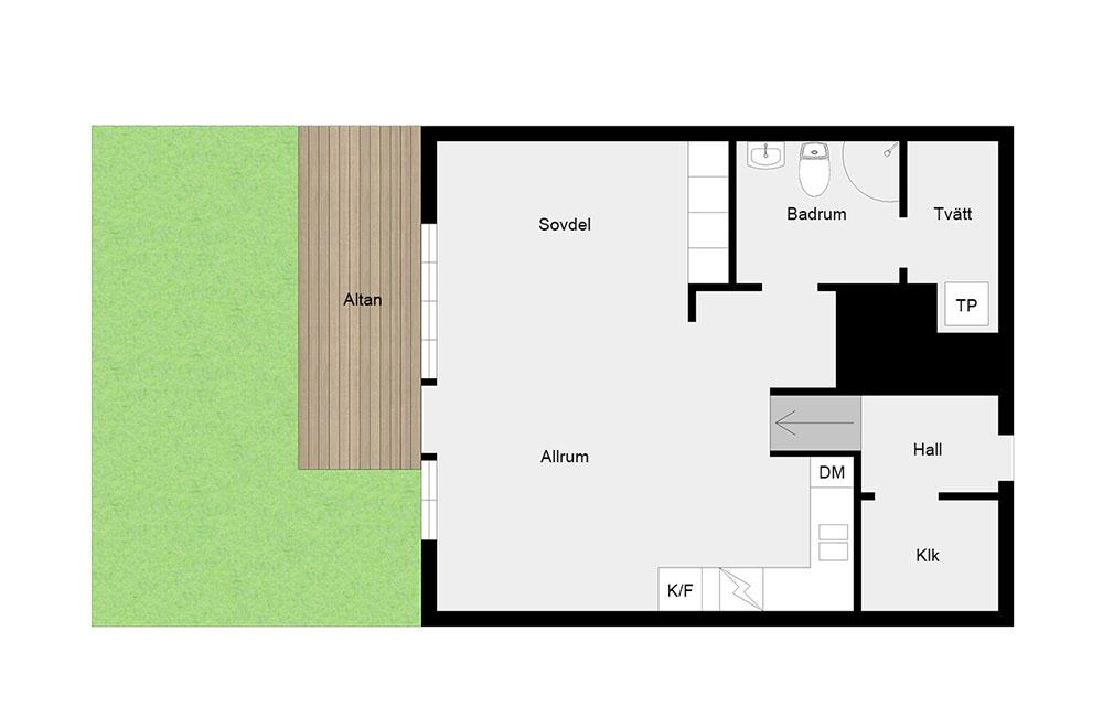 Светлая квартира-студия с необычным окном и собственным садом (53 кв. м)
