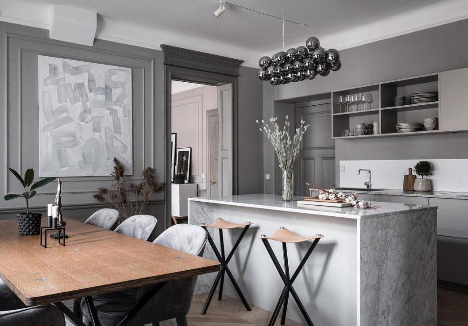 Серая элегантность: монохромная современная квартира в Стокгольме