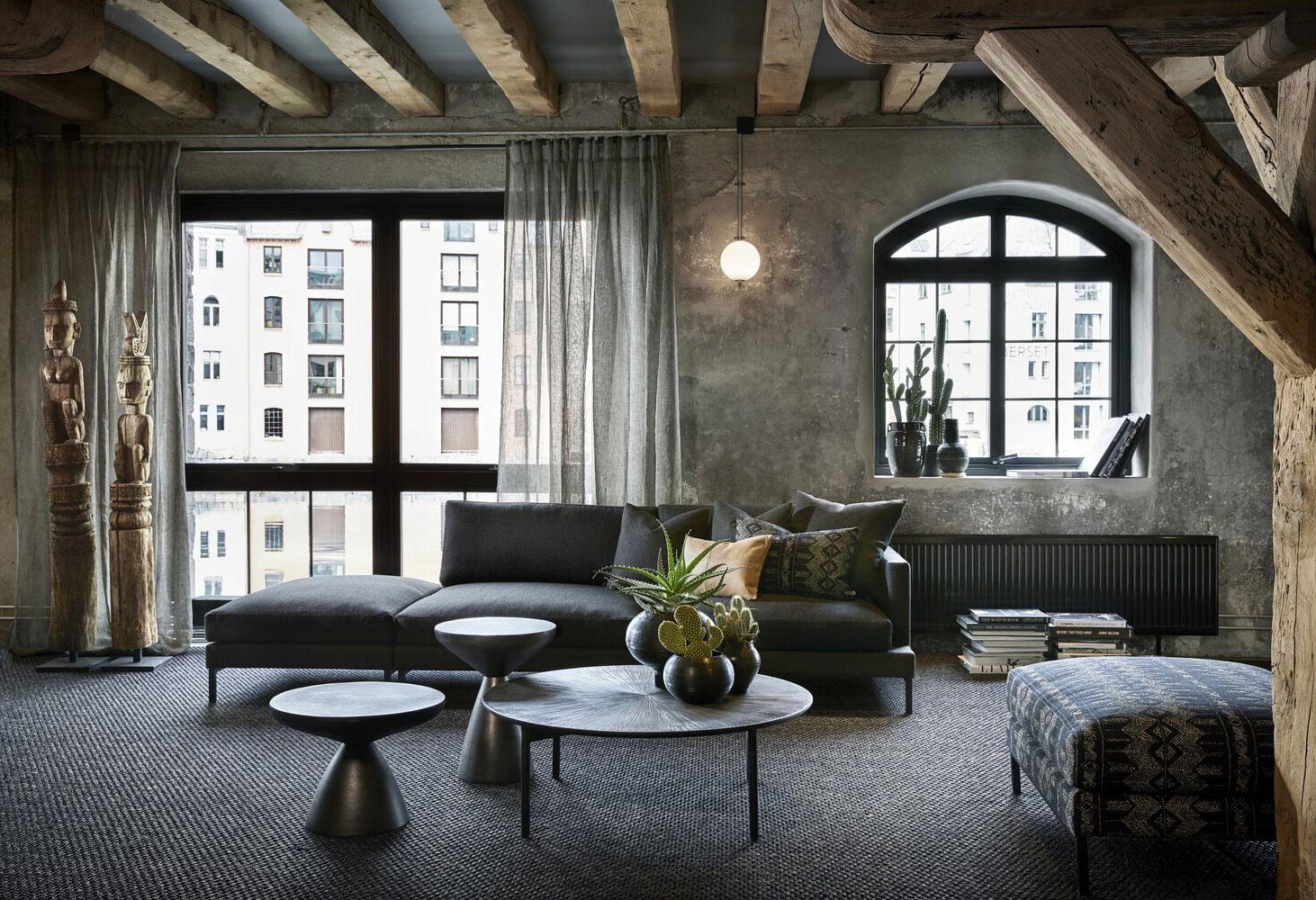 Эффектный современный дизайн квартиры с балками в Алесунде (Норвегия)