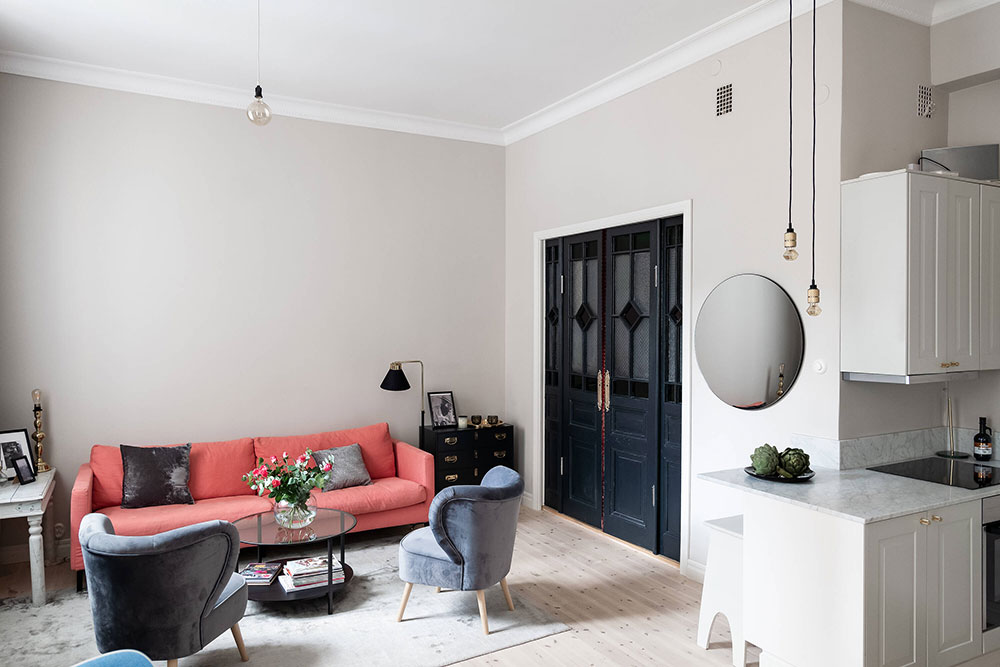 Маленькая квартира с антресолью и винтажными деталями в Стокгольме (42 кв. м)